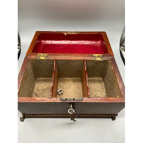 288 - A Victorian mahogany document box with four brass claw feet....