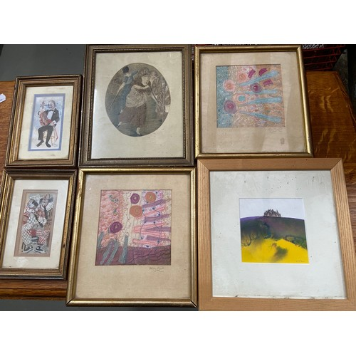 351 - A Lot of 6 various artworks to include Valerie McLean painting of trees on a hill top, Two watercolo...
