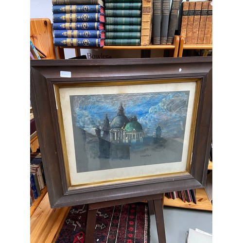 350 - Wilfrid Pickford  Original pastel depicting temple roof tops. Fitted with a dark wood and gilt frame...