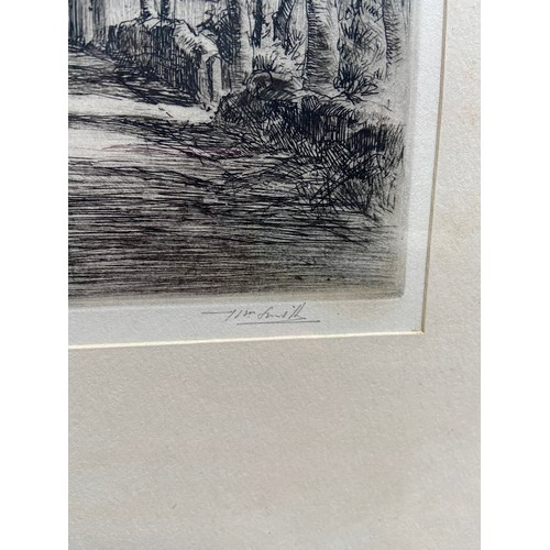 337 - Two antique etchings by J Beattie- Scott depicting landscape scenes. Together with one other etching...