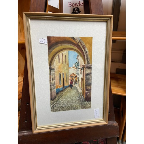 336 - An original watercolour depicting an European close/ archway. Signed by the artist....
