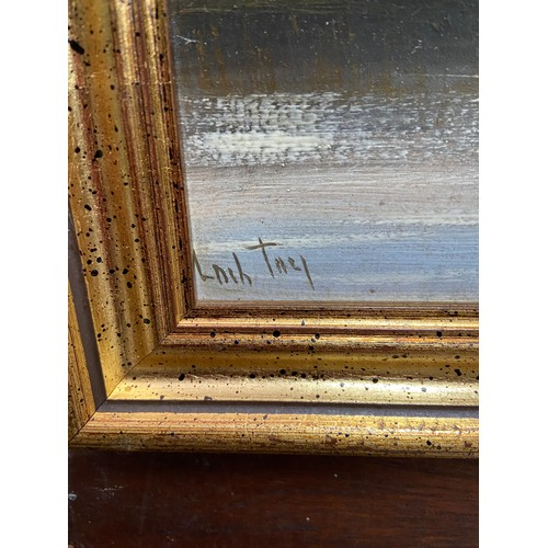 334 - An Original oil painting titled 'Loch Tay' and signed Marshall. Fitted with a contemporary gilt fram...