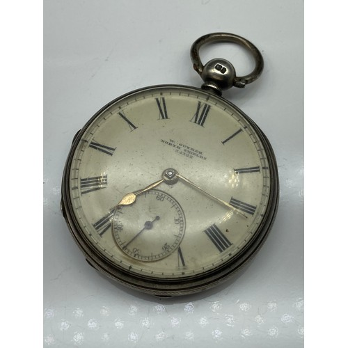 4J - A London silver pocket watch by W. Guymer, North Shields No. 35322. [Engraved to the inside- From T....