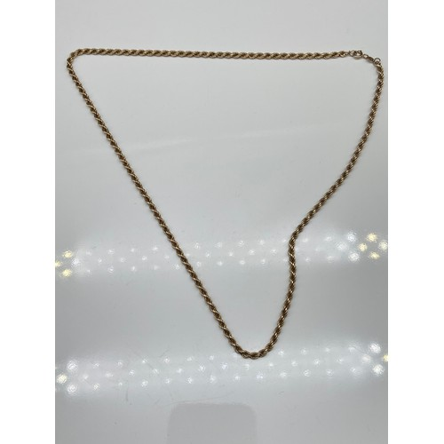 6J - A 9ct gold rope chain necklace. [48cm in length] [3.82grams]...