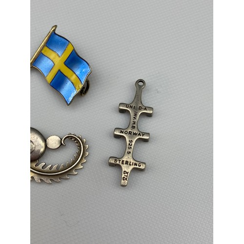 22J - Swedish silver and enamel flag brooch, Sterling silver Denmark Georg Jensen brooch [as found] and St...