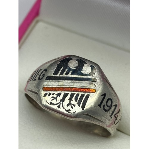 24 - A WW1 800 Grade silver and enamel German Eagle Weltkrieg 1914/ 16 soldiers ring. [Ring size T]...