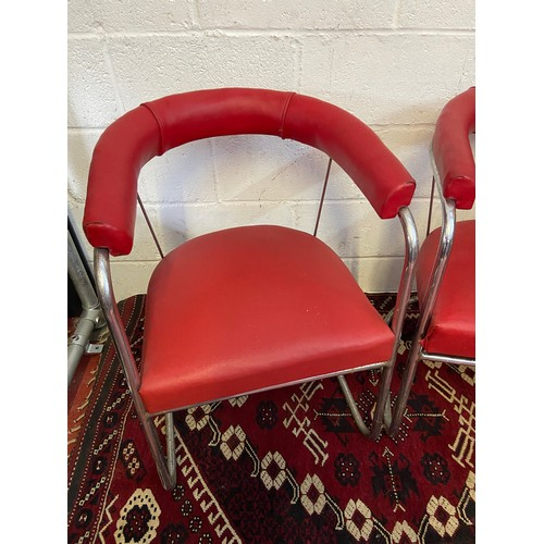 5C - A Pair of Retro 1950's red material and chrome metal tub chairs. [W:55cm X H:74H]...