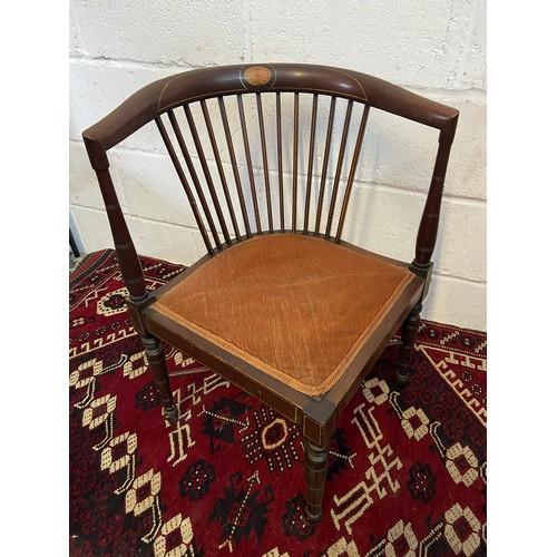 6B - An Edwardian inlaid, spindle back corner chair. [W:55CM X H: 67CM]...
