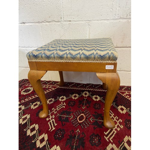 12B - Antique Queen Anne Leg  dressing table stool. [Standing 48cm high, 53cm long and 51cm wide]...