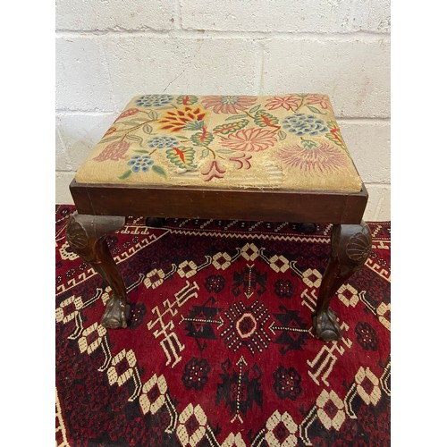 16B - A 19th century ball and claw carved leg, dressing table stool. Finished with a floral tapestry top. ...