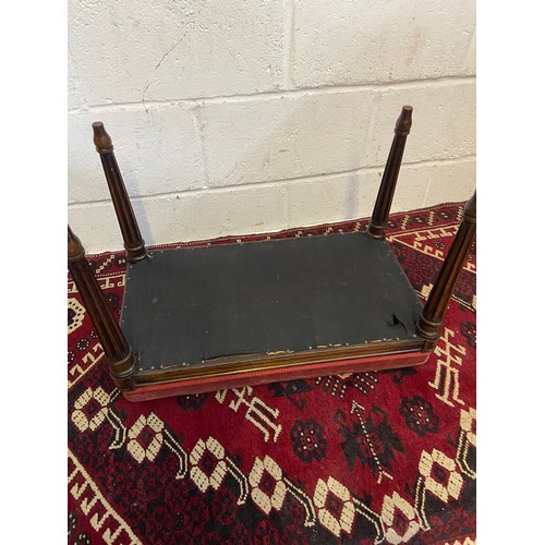 18B - A 19th century dressing table stool, designed with turned leg supports [Standing 44cm tall, 62cm lon...