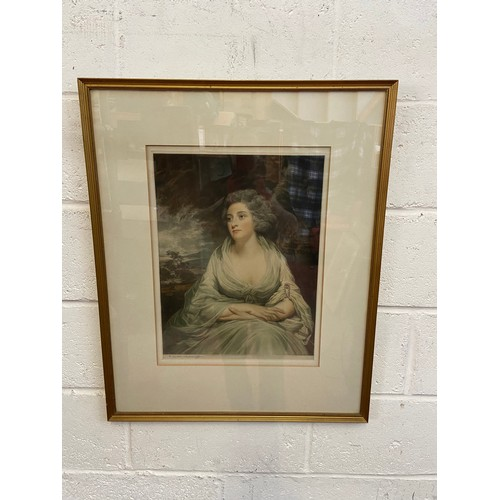 25C - H Macbeth Raeburn R.A. Coloured Engraving of Mrs Crawford. Note to the back of the frame. Signed in ...