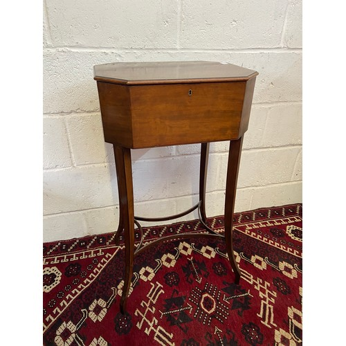 23B - A 19th century mahogany pedestal sewing table. [Standing 82cm high, 46cm in Length and 35cm Wide]....