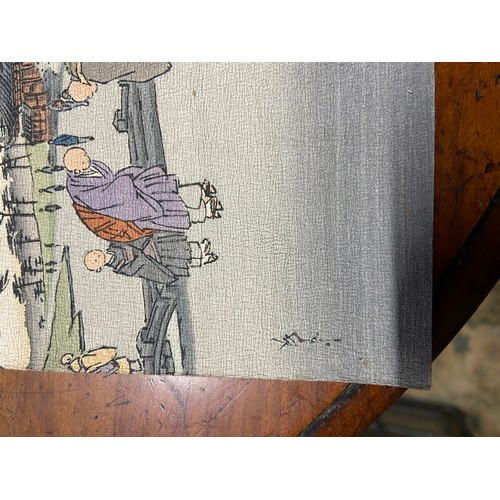 24A - A Lot of two well executed Japanese watercolours. One piece depicting sailing boats and the other of...