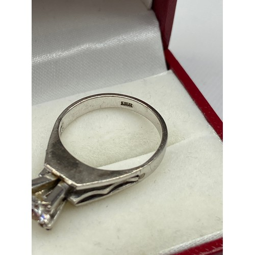 28A - An Antique ladies 18ct white gold a large diamond single stone ring. [0.70ct round cut] [Ring size L...