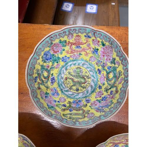 30A - Da Qing Qianlong Nian Zhi Chinese, four egg shell dragon design graduating bowls. Designed with a ye...
