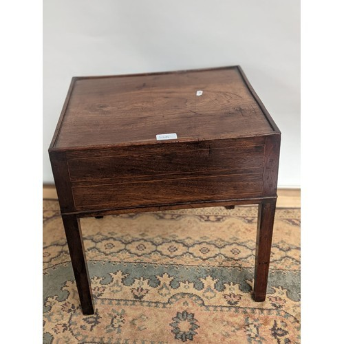 2 - A square design Georgian side table, detailed with fine inlays...