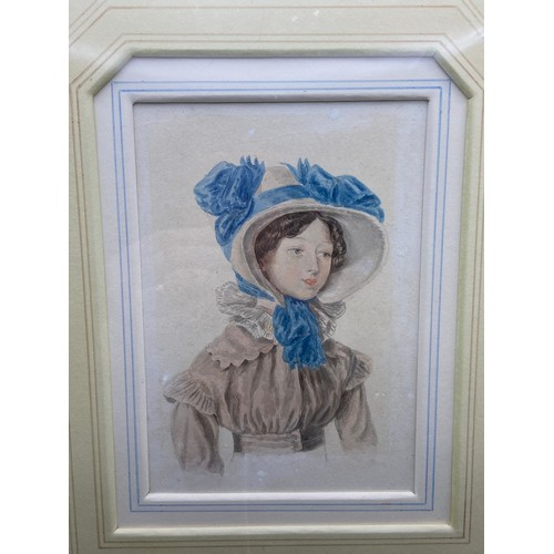 15 - A 19th Century original watercolour of a young lady 'Mrs Emily Sharpe, aged 17 years, 1813. 1893. [A...