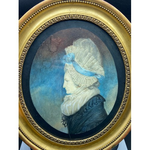 16 - An Antique watercolour portrait of an old lady. Details to the back of the picture. Only two copies ...