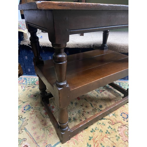 18 - A 17th century style oak joint three tier console table. A piece from Liberton Tower [70X79X46CM] Li...