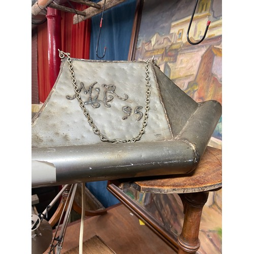 22 - Mark Lloyd Riddell, a metal sculpture Hovercraft light fitting, inscribed with monogram and dated '9...