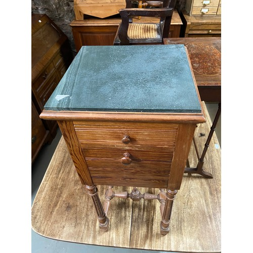 24 - An Antique marble top pedestal cabinet. Has a marble interior shelf. [88cm in height]...