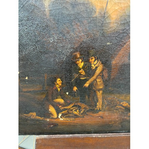 27 - An 18th/ 19th century oil painting on canvas depicting three gentleman discussing their catch. [44.5...