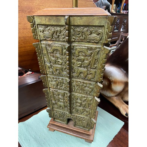 32 - An Antique heavy Chinese Bronze Table Lamp. Designed with a rise and fall mechanism. [90cm]...