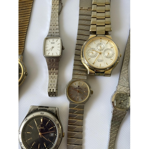 14J - A selection of various gents & ladies vintage watches to include; Citizen automatic 21 jewels, Avia ...