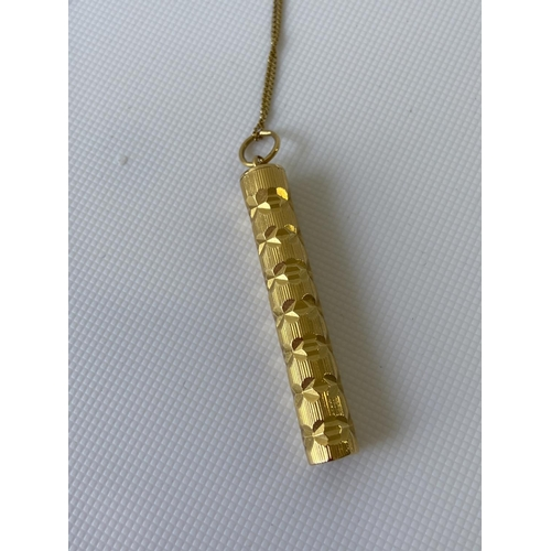6J - A Chinese or Japanese high grade gold snuff pendant with an 18ct gold necklace [Snuff possibly 22ct-...