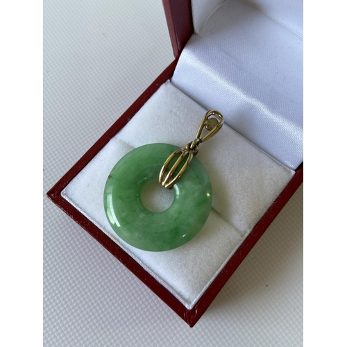 15J - A yellow metal pearl and jade ring pendant [length 3.5cm] [4.43g]...