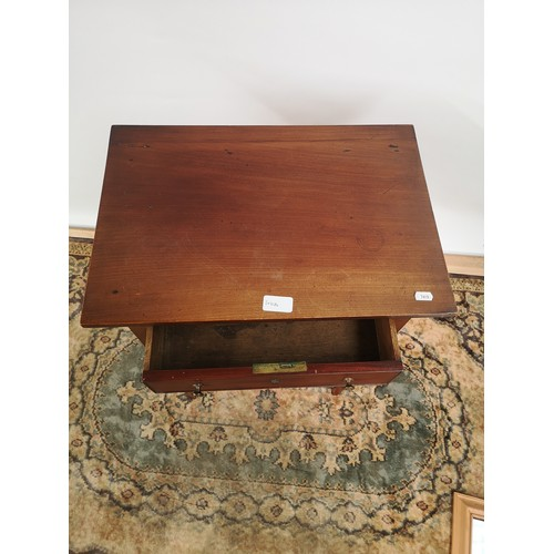 44 - A Georgian side table, one centre drawer, supported on four tapered legs...