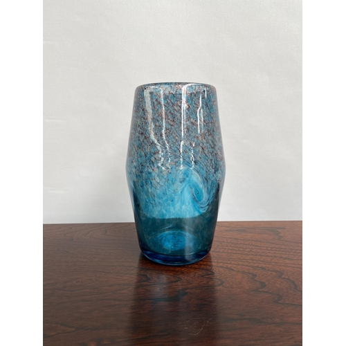 102 - A Vintage blue and gold speck Strathearn vase. [22cm in height]...