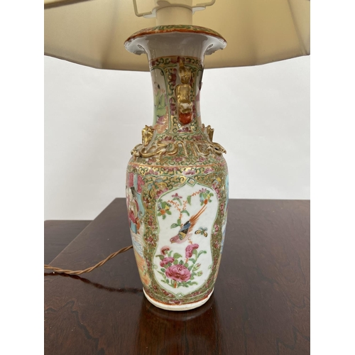 115 - A 19th century Famille Rose vase converted into a table lamp. [45cm in height]...