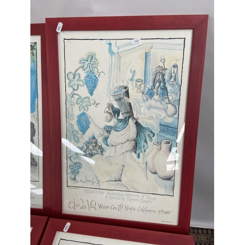 117 - A Lot of four vintage framed posters by Clos Du Val & Taltarni. Titled 'Doing the Splits in Cyprus',...