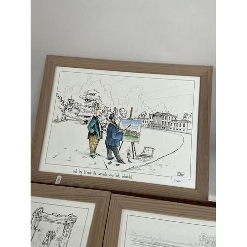 118 - Three original comical pen watercolours by Skeggs. [38x50cm]...