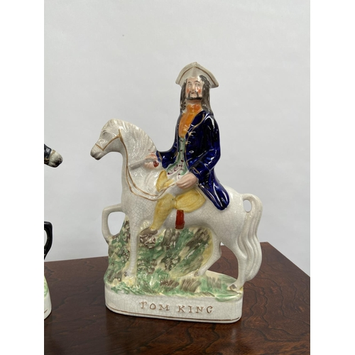121 - A Lot of two Antique Staffordshire flatback figures titled 'Dick Turpin and Tom King' both on horse ...