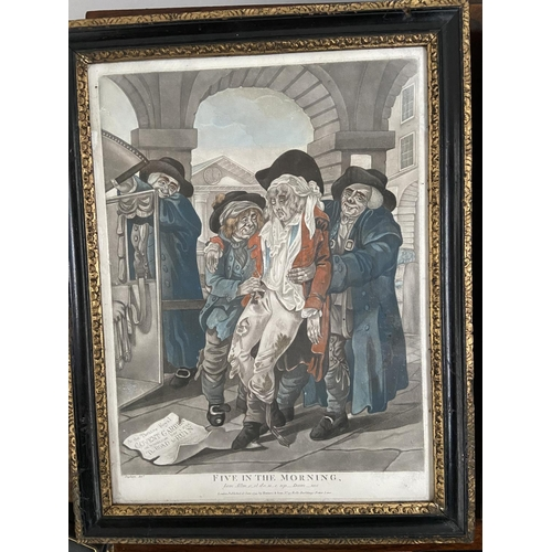 127 - Two late 18th century coloured engraving titled 'Twelve at Noon' & 'Five in the Morning' published b...