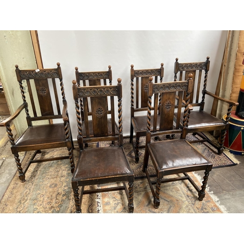 141 - A Lot of four antique dining chairs with two matching carvers. All with barley twist legs and suppor...