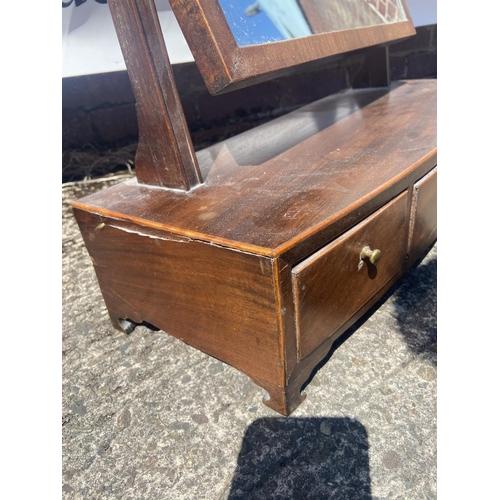 186 - A Georgian three drawer Dressing table mirror [55x56x21.5cm]