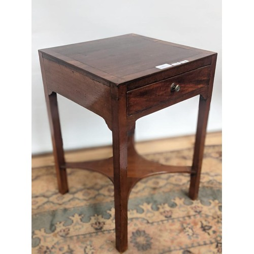 8 - A Georgian square top, single drawer side table with a four arm stretcher to the base...