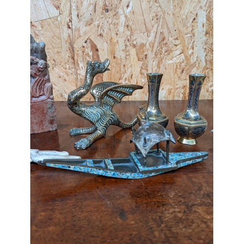 455A - A Selection of collectable odds to include Chinese soap stone sculpture, gilt brass dragon sculpture...