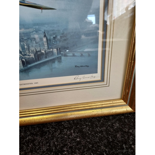443 - A Limited edition print [375/4950] titled 'Spitfire over Westminster 1945' by Roy Huxley. [Frame 37x...