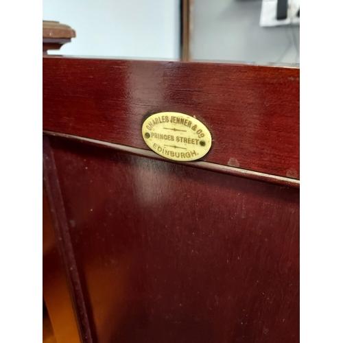 17 - A 19th century Mahogany pot cupboard, showing Charles Jenners & Co. Edinburgh.  [76x40x37cm]