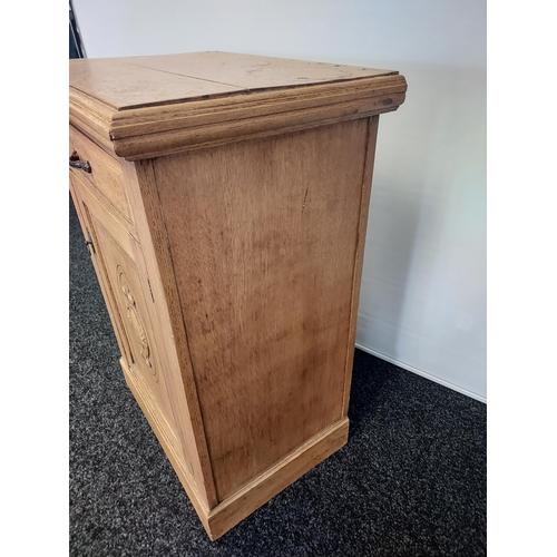 2 - A Victorian light oak one door, one drawer kitchen unit. [96x68x49cm]