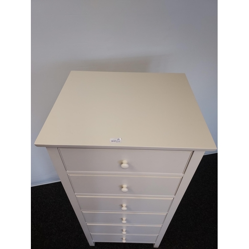 45 - A Contemporary Solid wood 6 drawer narrow chest of drawers. [126x58x49cm]