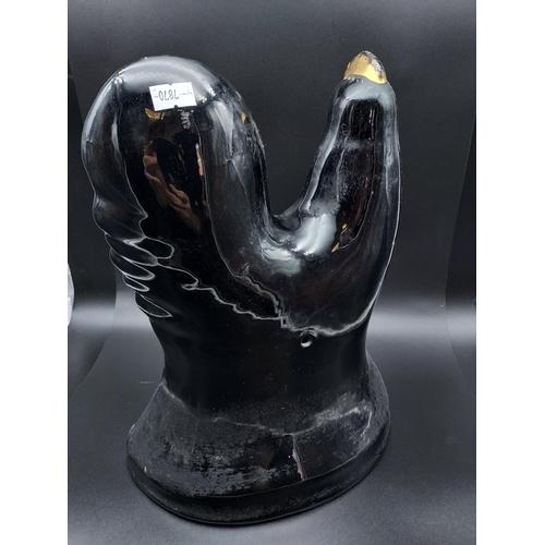 9 - A Bo'ness pottery black lustre cockerel figurine. [31cm in height]