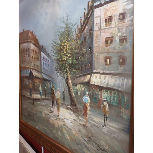 1 - Large framed painting depicting city scene