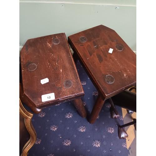 10 - Vintage handmade matching stools