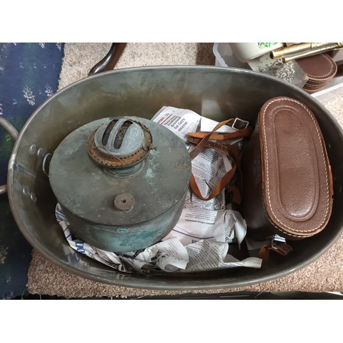 14 - Large metal pan with handles along with vintage burner and binoculars within a fitted case